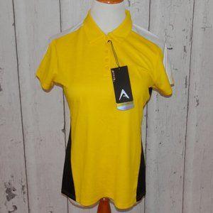 NEW Antigua Women's Medium Black Gold Golf Polo